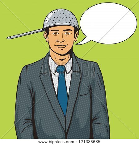 Man with strainer on head pop art style vector