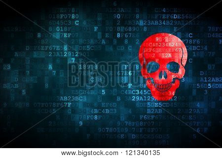Healthcare concept: Scull on digital background