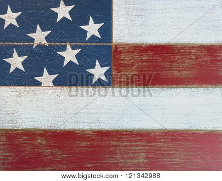 Usa National Colors Painted On Faded Wooden Boards
