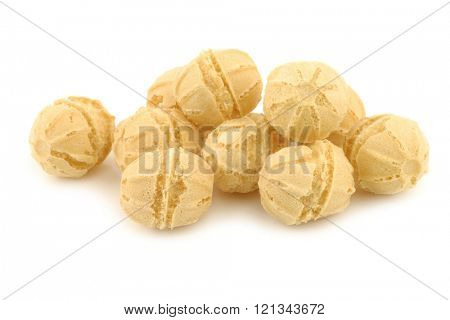 tasty cheese balls on a white background