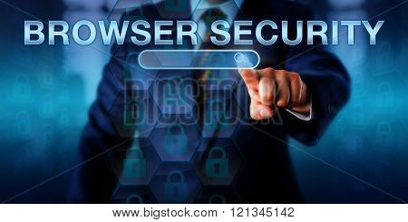 Business Internet User Pushing Browser Security
