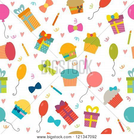 Happy Birthday Seamless Pattern With Hearts. Vector Background For Your Design