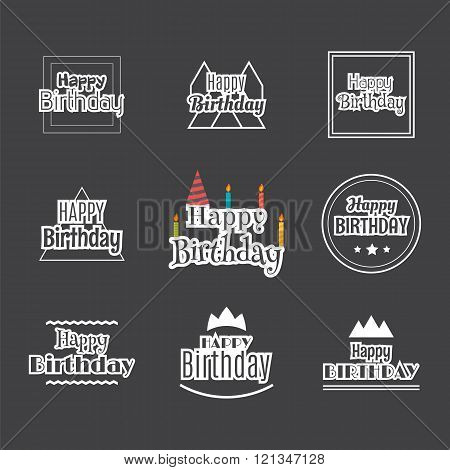Happy Birthday Set. Label Design Collection. Birthday Themed Cards