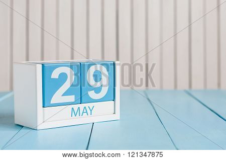 May 29th. Image of may 29 wooden color calendar on white background.  Spring day, empty space for te