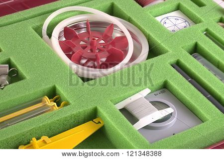 Laboratory equipment in a special small  suitcase