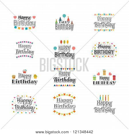 Set Of Happy Birthday Greeting Cards. Cute Postcard For Your Design