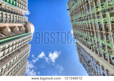 Tall Concrete Highrise Housing In Hong Kong