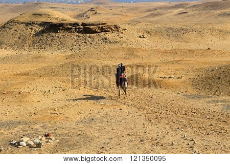 Two Men On Horseback In The Desert Of Egypt