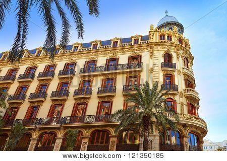 Valencia Ayuntamiento square Casa Ferrer building at Spain