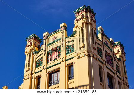 Valencia railway station facade North Estacio del Nord in Spain