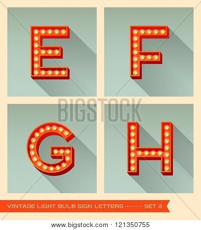 Vintage light bulb sign letters e, f, g, h,