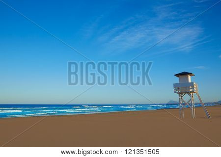 Gandia beach in Valencia of Mediterranean Spain baywatch tower