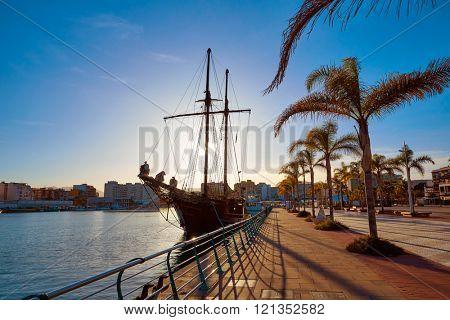 Gandia port promenade in Mediterranean Valencia of Spain