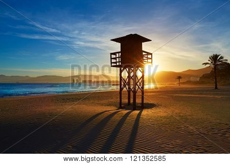 Cullera Playa los Olivos beach sunset in Mediterranean Valencia at Spain