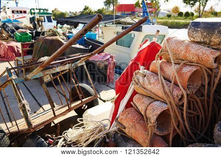 Cullera fishing tackle clay pots for octopus in Valencia of Spain