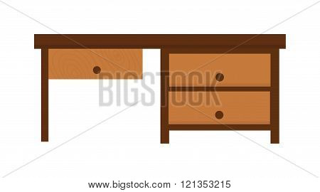 Wood table furniture vector illustration