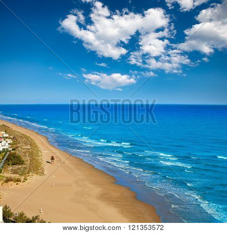 Cullera Dosel beach aerial Mediterranean sea in Valencia of Spain