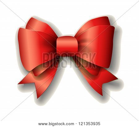 Red ribbon bow on white background.