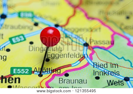 Altotting pinned on a map of Germany
