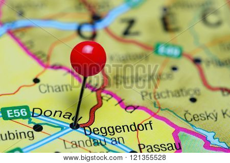 Deggendorf pinned on a map of Germany