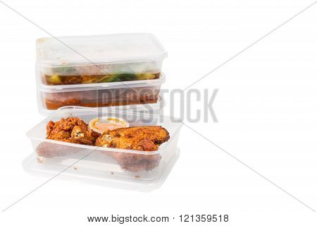 Convenient But Unhealthy Disposable Plastic Lunch Boxes With Meals