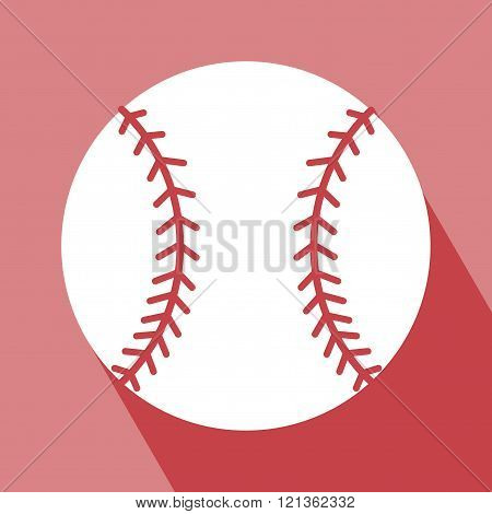 Baseball Icon. Baseball Icon on red background. Baseball Icon with Long Shadow. All in a single layer. Vector illustration. Elements for design.