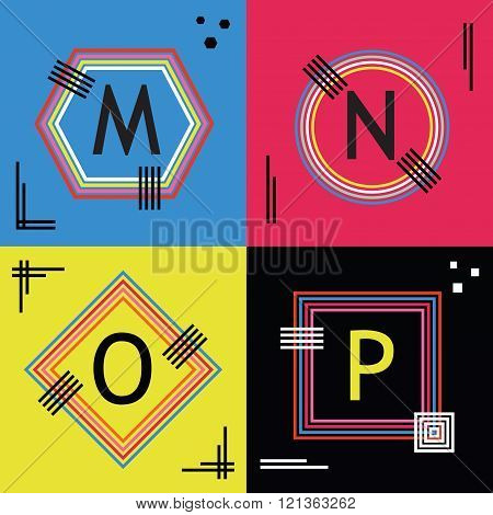 Colorful line capital letters M, N, O, and P emblem icons set