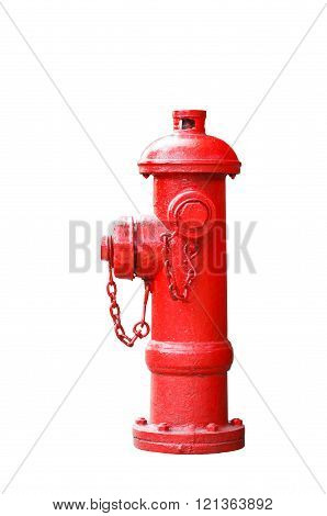 Isolated red fireplug on white with clipping path