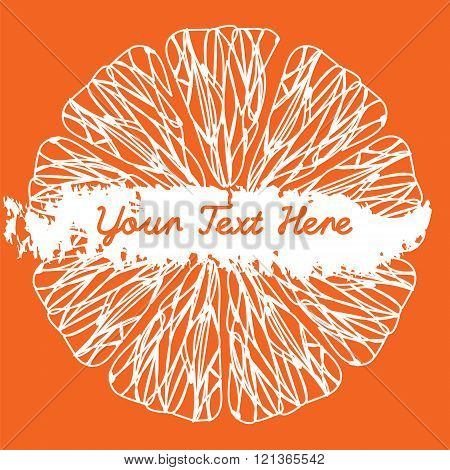 Citrus Fruit Texture. Sketch Frame. White Siluet On Orange Background. Vector Illustration. Design E