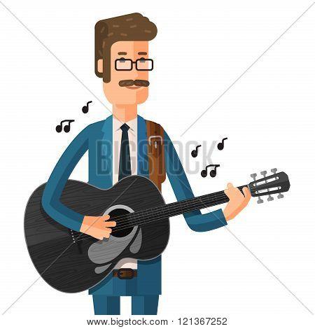 man plays the guitar. vector illustration