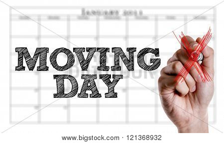 Hand writing the text: Moving Day