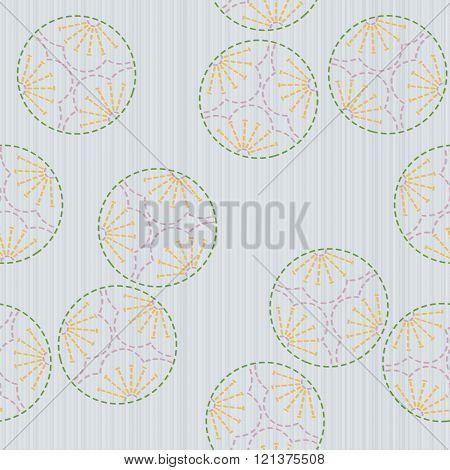 Plum Blossoms. Sashiko motif. Seamless pattern.