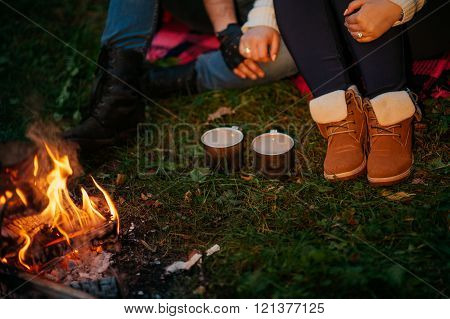 Nature lovers on sitting around the campfire at night poster