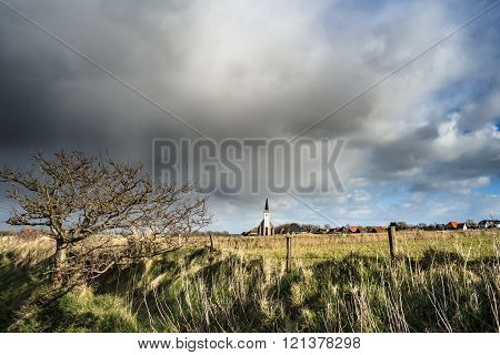 Typical White Church In Landscape At The Island, Texel, Holland
