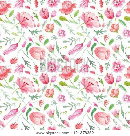 Soft Watercolor Floral Seamless Texture
