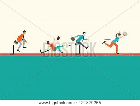 Business People Running  And Jumping Hurdles On Red Rubber Track.
