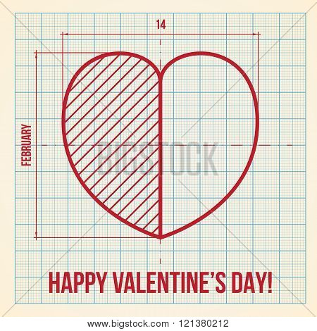 Original Valentine Day Card On Graph Paper