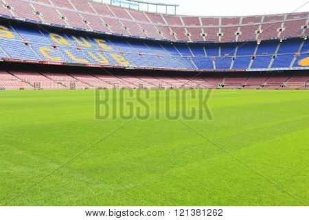 BARCELONA SPAIN - SEPTEMBER 08 2014: Camp Nou football stadium has been the home of FC Barcelona since its completion in 1957
