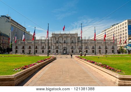 People Visit The Palacio De La Moneda In Santiago, Chile