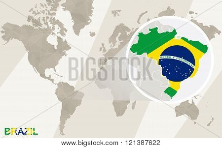 Zoom On Brazil Map And Flag. World Map.