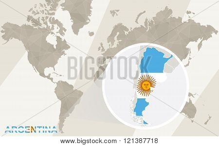 Zoom On Argentina Map And Flag. World Map.