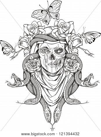 woman skull, snakes, butterflies and flowers
