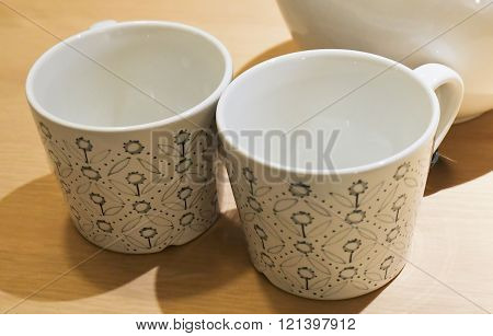 Beverage and Drink, Closeup of Two Coffee Cups or Tea Cups Used for Drinking Coffee and Tea. Selective Focus. ** Note: Soft Focus at 100%, best at smaller sizes