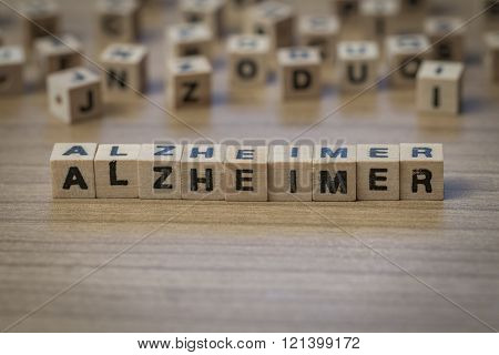 Alzheimer Written In Wooden Cubes