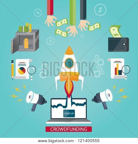 Modern Vector Illustration Of Crowd Funding Service, New Business Idea