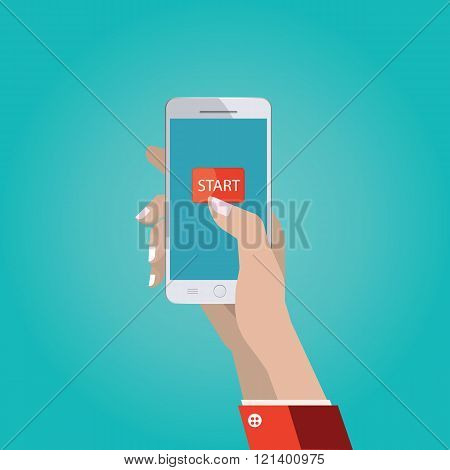.vector Illustration Of Hand With Smart Phone, Touch Interface With Start Button, Hand Using And Tou