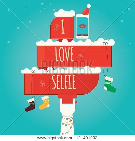 Vector Illustration Of Selfie, Taking Selfie Photo On Smart Phone, Christmas Selfie