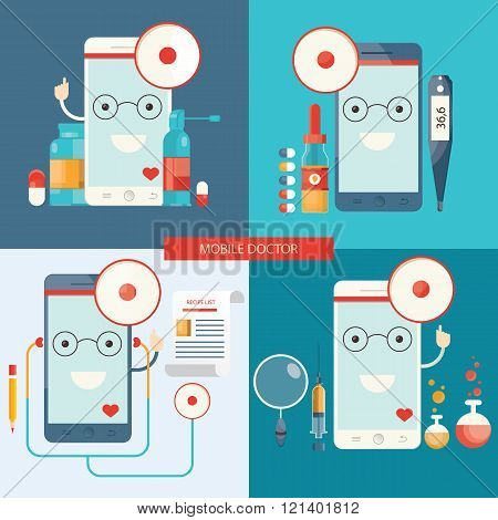 Vector Set Of Mobile Doctor, Healthcare.