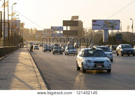Cairo Traffic At Dusk