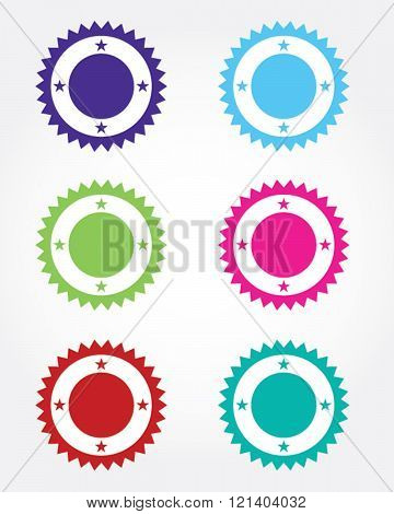 A collection of vector seals and frames in various colours